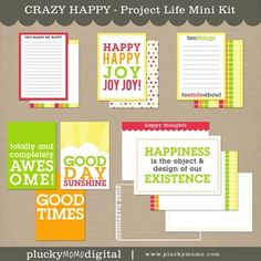 CRAZY HAPPY Mini Kit for Scrapbooking or Project Life. $5 via Plucky Momo Digital