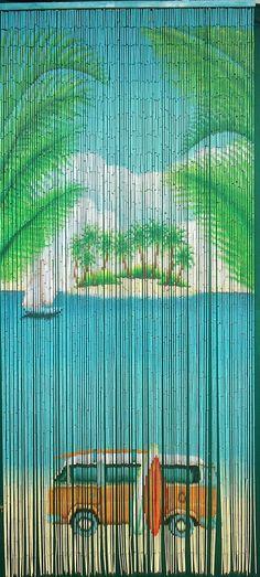 VW Bus on Beach Bamboo Curtain
