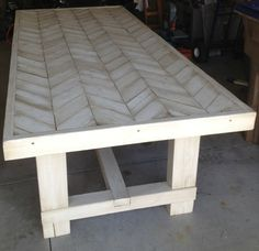 Pallet Table Plans Dad Built This: Farmhouse Chevron Table Pallet Furniture, Furniture Projects, Furniture Plans, Home Projects, Furniture Stores, Chevron Furniture, Furniture Nyc, Furniture Removal, Furniture Outlet