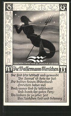 Alte Ansichtskarte: AK Die Wassermann-Menschen, Sternzeichen, Horoskop, Astrologie