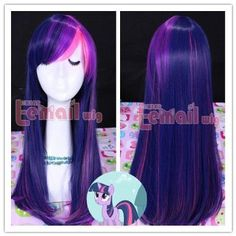 Amazon.com: 55cm Long Mixed Purple / Pink My Little Pony Twilight Sparkle Straight Cosplay Wig: Clothing