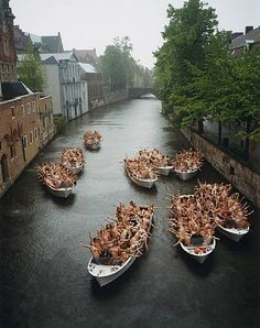 """""""Brugge 4, 2005"""". Bruges, Belgium. May 6-7, 2005 (part of Corpus 05 art festival). The installation on the water was ladies only."""