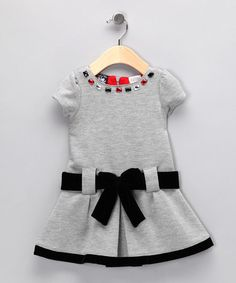 #zulily #fall Take a look at this Gray Ponte Bow Dress - Infant, Toddler & Girls by Fall Forward: Girls' Apparel on #zulily today!