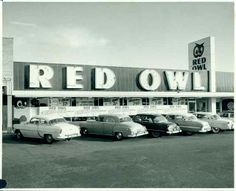 Exterior of an unknown Red Owl Store. Colorized from a black & white photo. Note: The Minnesota Historical Society photo database lists this as the Southdale Red Owl, but it is not. Minnesota Home, Edina Minnesota, Albert Lea, Minnesota Historical Society, Minneapolis St Paul, Red Owl, Pub Design, Twin Cities