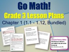 Go Math! Grade 3 Chapter 1 Lesson Plans, Journal Prompts Vocabulary Cards *** BUNDLED *** ***SPECIAL SUMMER SALE / BACK-TO-SCHOOL SALE NOW THROUGH JULY 9TH*** Go Math! Grade 3 Chapter 1 (Lessons 1.1 - 1.12 with Journal Prompts Vocabulary).