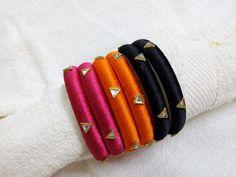 Silk Thread Bangles Design, Silk Thread Necklace, Silk Bangles, Bridal Bangles, Diy Fabric Jewellery, Thread Jewellery, Women's Jewelry, Jewellery Making, Handmade Jewelry