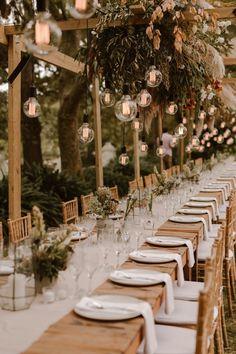 Consider hanging Edison bulbs to add a bit of warm and glowy magic to your reception decor Wedding Places, Destination Wedding, Wedding Venues, Intimate Wedding Reception, Romantic Weddings, Dream Wedding, Wedding Day, Wedding In Nature, Magical Wedding