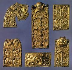 Viking Borre Art - a style of geometric interlace (knots) and zoomorphic (animal) patterns, first found among bronze artifacts in a ship-mound grave near the village of Borre, Norway. This style prevailed throughout the 9th and 10th centuries.