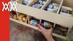 Make a canned food dispenser. Organize your January!, via YouTube.