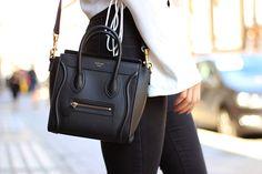 Lace up side boho shirt white loose zara high waist denim black topshop celine nano bag black boots (5)