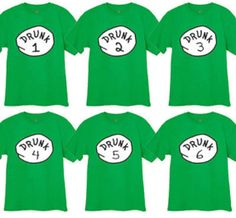 St Patricks Day Drunk # 1 2 3 4 5 6 Adult Sizes S To 3XL and Women's / Juniors sizes T -shirt on Etsy, $12.99