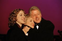 President Bill Clinton with his wife Hillary Clinton and their daughter Chelsea.