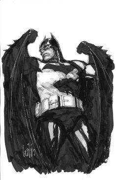 Batman by Leinil Yu Nightwing, Batgirl, Catwoman, Batman Comic Art, I Am Batman, Black And White Comics, Nerd Art, Batman The Dark Knight, Gotham City