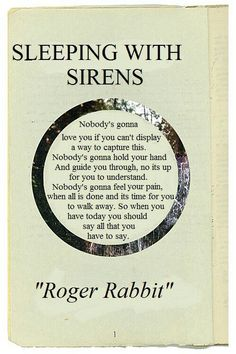 """Sleeping with sirens ~ """"roger rabbit"""" I love this song. it means so much to me."""
