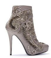 silver embellished booties.
