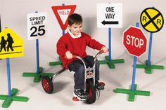 The Set of 6 signs contains: Stop Sign, Speed Limit 25, Railroad Crossing, Yield, School Crossing and One are all one sided. But, children will have a ball pretending they are on the road. #dramaticplay Way.http://www.sensoryedge.com/drtrsibygu.html