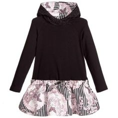 Young Versace - Black Hooded Dress with Butterfly Satin Skirt | Childrensalon