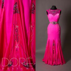 Hot Pink Velvet Smooth w/ Hand Painted Mesh Neckline & Hand Painted & Stoned Godets