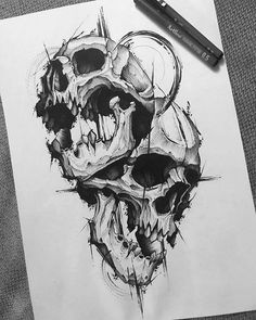Skull art · tattoo sketches · persona 5 isn't just a fantastic video game, it's an absolute feast for Skull Tattoo Design, Skull Tattoos, Body Art Tattoos, Sleeve Tattoos, Guitar Tattoo Design, Skull Design, Tattoo Designs Men, Design Art, Tattoo Sketches