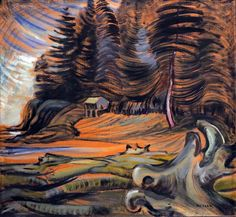 Painted by Emily Carr. May 1931 oil on canvas. Art Gallery of Greater Victoria, purchased with funds from Mark Tobey. Painted during her visit to Cordova Bay. Museum is in Victoria, Vancouver Island, British Columbia, Canada Tom Thomson, Canadian Painters, Canadian Artists, Landscape Art, Landscape Paintings, Landscapes, Totems, Emily Carr Paintings, Group Of Seven Paintings