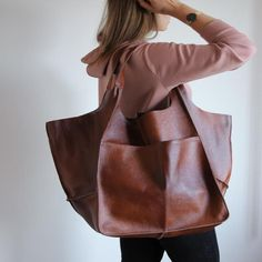 Cognac Leather Tote Bag, Slouchy Tote, Cognac Handbag For Women, Every Day Bag, Women Leather Bag, Weekender Oversized Bag Large Leather Tote Bag, Leather Totes, Pu Leather, Soft Leather Handbags, Leather Bags, Leather Purses, Macbook, Foldover Bag, Matt Brown