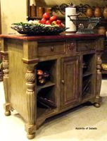 Great sideboard with turned legs mixed with iron tabletop.