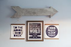"great way to put 3 frames of ""wording"" together without looking odd.  Hobby Lobby has an arrow!!"
