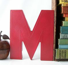 letter M upcycled vintage marquee sign retro wall hanging home decor red blood bright initial industrial modern business store. $17.00, via Etsy.