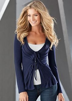 Tie front knit cardigan, cami