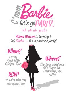 Barbie Birthday Invitation Templates Free Inspirational Simple Barbie Invitation Printable Pdf by Barbie Theme Party, Barbie Birthday Party, Birthday Party For Teens, 14th Birthday, Birthday Bash, Birthday Ideas, Barbie Birthday Invitations, Printable Birthday Invitations, Invitation Ideas