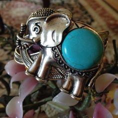 Vintage  sleeping turquoise elephant cuff Good luck elephant  800 silver cuff Vintage Jewelry Bracelets