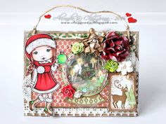 From our Design Team! Card by Alexandra Morein featuring Christmas Molli and these Dies - Postage Stamps, Snowglobe, Stitched Nested Circles :-) Shop for our products here - shop.lalalandcrafts.com Coloring details and more Design Team inspiration here - http://lalalandcrafts.blogspot.ie/2016/01/inspiration-friday-something-new.html