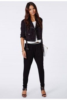 Louise Sports Rib Tapered Trousers Black #MissguidedAW14