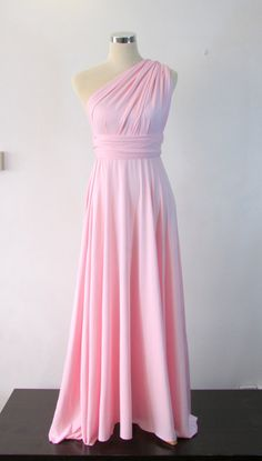 Full length bridesmaid dress Convertible Dress in Baby Pink Infinity Dress Multiway Dress Pastel Pink on Etsy, £25.31