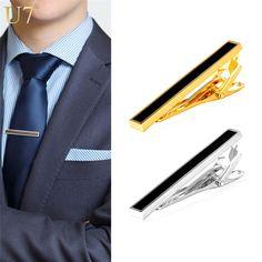 U7 2016 Gold Black Tie Clip For Men's Gifts Classic Gold Plated Business / Groom Suit Men Necktie Clip Clasp TC003