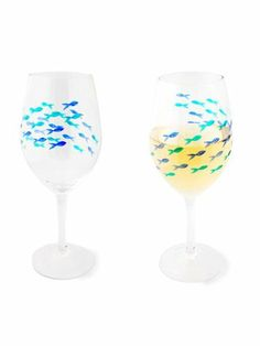 """Set of 4 Pieces 9"""" Art Glass Blue & Green Etched Fish Wine Goblet Glasses 22oz by American Chateau. $42.99. Material: GLASS. Color: CLEAR. Size: 9.4"""" H x 3.9"""" L x 3.9"""" W. You get 4 Pieces. Color: CLEAR; Material: GLASS; Size: 9 2/5"""" H x 3 9/10"""" L x 3 9/10"""" W; You get 4 Pieces"""