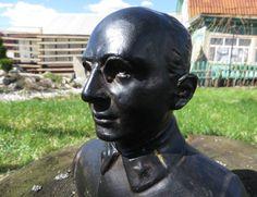 Berija bust statue. Stalin's comrade. Soviet sculpture. Russian metal figurine by KASLI. Metal casting in Russia. Soviet art. Soviet vintage