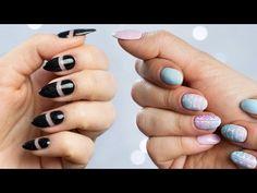 Ratowanie złamanego paznokcia, negative space i tatuaże na hybrydzie ♡ Red Lipstick Monster ♡ - YouTube