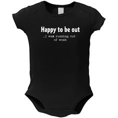 Baby 'Running Out of Womb' Black Cotton Bodysuit One-piece (Small), Boy's, Size: 3 - 6 Months