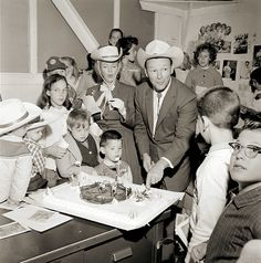 Roy Rogers and Dale Evans at a Childs' Cowboy Birthday Party 1960's.