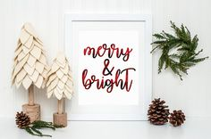 Merry and Bright Plaid Christmas Printable Sign Flannel Red