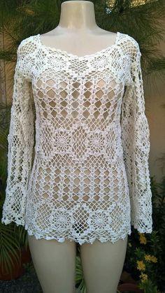 Captivating Crochet a Bodycon Dress Top Ideas. Dazzling Crochet a Bodycon Dress Top Ideas. Crochet Tunic, Crochet Jacket, Diy Crochet, Crochet Clothes, Crochet Top, Crochet Bebe, Clothing Patterns, Dress Patterns, Knitting Patterns