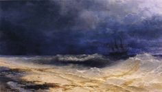 Ivan Constantinovich Aivasovsky, Ships in a Storm (1860) - Google Search