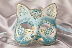 Venetian Masquerade Animal Mask with Gold Trim - Cat Fiore