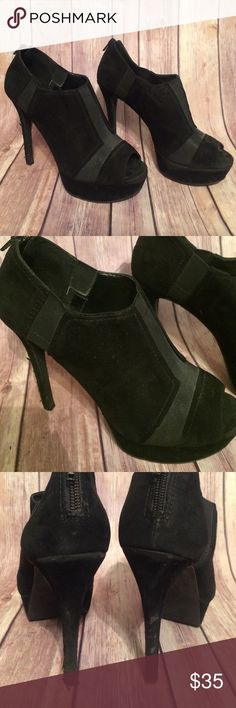 🎉 25% OFF BUNDLES Jessica Simpson booties Black heeled booties with zip back and peep toe! Small scuffs on heels shown in photos. Heels are 5 inches Jessica Simpson Shoes Ankle Boots & Booties