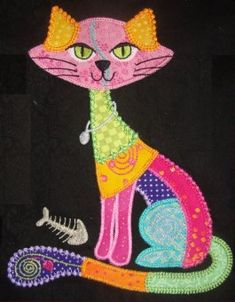 new ideas for cats design quilt blocks Cat Quilt Patterns, Applique Patterns, Applique Quilts, Applique Designs, Patch Quilt, Quilt Blocks, Quilting Projects, Sewing Projects, Animal Quilts