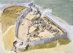Richmond Castle as it could have looked in around 1100 by Terry Ball Fantasy City, Fantasy Castle, Fantasy Map, Medieval Fantasy, Fantasy World, Chateau Medieval, Medieval Castle, Historical Architecture, Ancient Architecture