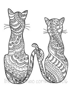 630 Best Adult Colouring Cats Dogs Zentangles Images Mandalas