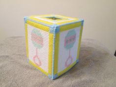 Baby Tissue Box Cover Rattle Design in plastic canvas by CraftsforSalebyJune on Etsy