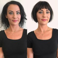 Crushing over this before and after from 😍✨ Her hair looks so much fuller! Cool Haircuts, Short Bob Hairstyles, Hairstyles With Bangs, Celebrity Hairstyles, American Hairstyles, Simple Hairstyles, Pixie Haircuts, School Hairstyles, Medium Hairstyles